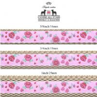 DOG LEAD - ROSES AND HEARTS ON PINK